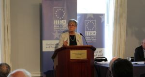 Gisela Stuart, chairwoman of the Vote Leave campaign, speaks at the Institute of International and European Affairs in Dublin. Photograph: Lorcan Mullally/IIEA.