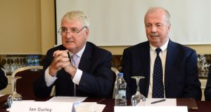 Malin chairman Ian Curley and non-executive director Liam Daniel at the company's agm in Dún Laoghaire, Co Dublin. Photograph: Dara Mac Dónaill