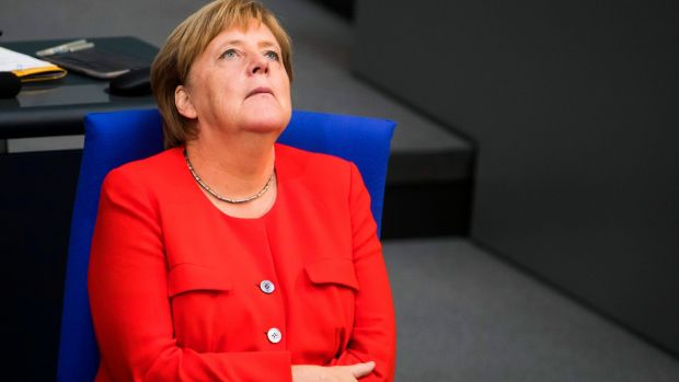 German chancellor Angela Merkel in the Bundestag. Photograph: Odd Andersen/AFP/Getty Images