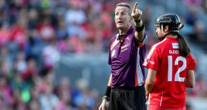 "Referee Eamon Cassidy during the camogie final. ""Maybe camogie is being officiated in the wrong way. I'm not saying let's all go out and allow all hell to break loose, but  . . let's celebrate some physicality in women's sports.""  Photograph: Laszlo Geczo/Inpho"