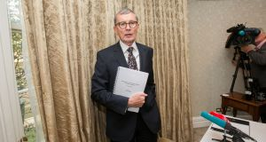 Dr Gabriel Scally during the launch of the Scally report into the CervicalCheck screening programme on  Wednesday.  Photograph: Gareth Chaney Collins