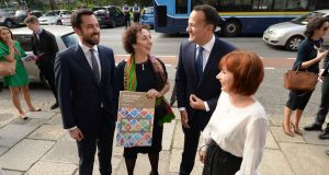 (L to R) Minister for Local Government Eoghan Murphy, Creative Ireland director Tania Banotti, Taoiseach Leo Varadkar and Minister for Culture Josepha Madigan at the launch of Local Authority Culture and Creativity Strategies 2018 - 2022 in Dublin's Merrion Square on Wednesday.  Photograph: Dara Mac Dónaill/ The Irish Times.