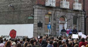 People take part in a protest outside 34 North Frederick Street in Dublin's city centre, following  eviction.Photograph: Brian Lawless/PA Wire