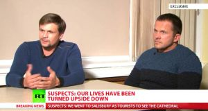 Men claiming to be Russian nationals Ruslan Boshirov (left) and Alexander Petrov, the two suspects in the poisoning of an ex-Russian spy Sergei Skripal and his daughter Yulia, appearing in an interview on the Russian state TV channel RT. Photograph: RT/PA Wire