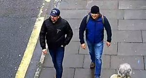 Ruslan Boshirov and Alexander Petrov  on Fisherton Road, Salisbury at 1.05pm on March 4th: they are the  main suspects in the Salisbury Novichok poisoning cases.