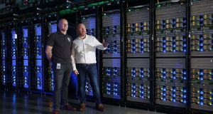 Mark Hunter, data centre site manager, Facebook (left) and Niall McEntegart, data centre operations director, EMEA at the company's new data centre in Clonee, Co Meath. Photograph: Robbie Reynolds