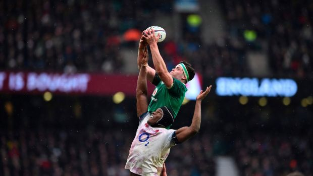 Ireland lock James Ryan reaches above England lock Maro Itoje during at Twickenham, in March 2018. Photograph: Getty Images