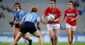 Cork's Ciara O'Sullivan takes on Dublin's Lauren Magee during the sides' league clash at Croke Park this year. Photograph: Oisín Keniry/Inpho