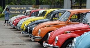 "Some vintage Volkswagen Beetle cars during the 23rd anniversary of ""World Wide VW Beetle Day"", in Bangalore, India, in June. Photograph: Manjunath Kiran/AFP/Getty Images"