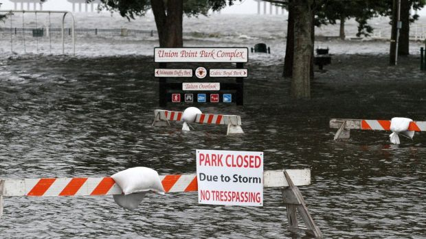 Union Point Park, North Carolina, flooded with rising water from the Neuse and Trent Rivers. Photograph: Gray Whitley/Sun Journal/AP