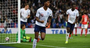 Marcus Rashford score two in two for England during the international break. Photograph: Paul Ellis/AFP/Getty