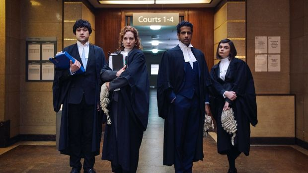 Will Sharpe (left) and Katherine Parkinson (2nd from left) in Defending the Guilty