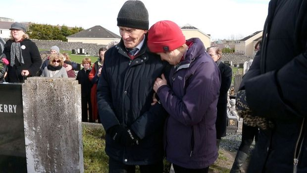 Peter Mulryan and his wife Kathleen at the 'Flowers for Magdalenes' memorial at Bohermore Cemetery in Galway city in March 2017. Photograph: Joe O'Shaughnessy
