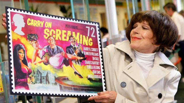Fenella Fielding in 2008, launching a series of Royal Mail stamps celebrating the 50th anniversary of the Carry On films. Photograph: Anthony Upton/PA Wire