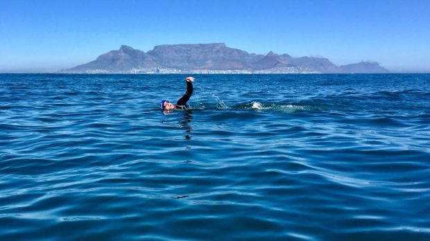 Graham Little swimming from Robben Island to Cape Town