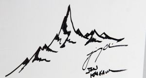 Mountain drawing with the signatures of Jon Krakauer and Jimmy Chin.   Photograph:  Laura Cavanaugh/FilmMagic