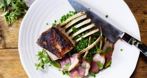 Rack of lamb with braised lemon and mint peas. Photograph:  Emma Jervis
