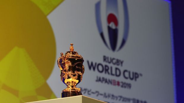 The Webb Ellis Cup pictured during the Rugby World Cup 2019 match schedule announcement in November 2017.Photograph: David Rogers/Getty Images