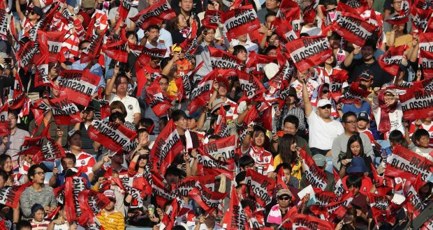 a46c4722dd1 Japanese fans during the international match between Japan and Australia at  Nissan Stadium in Yokohama in