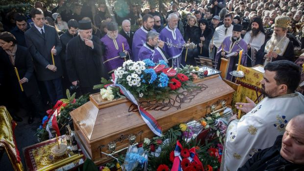 Funeral ceremony for Oliver Ivanovic in Belgrade on January 18, 2018. His murder raised tensions in the volatile region. Photograph: Oliver Bunic/AFP/Getty