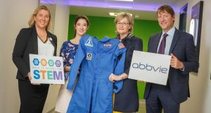 At the launch of AbbVie's Back to School for STEM  initiative were Jackie O'Dowd of Science Foundation Ireland, Dr Norah Patten, Mairead McGuinness MEP, and Todd Manning, general manager of AbbVie
