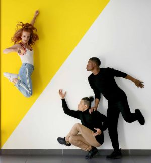 FOOTLOOSE: Dancer Olwyn Lyons with Tobi Balogun, right, and Cristian Emmanuel Dirocie of Human Collective troupe launch Dance Ireland's new programme of dance classes and events for all in DanceHouse, Dublin. For more information see www.danceireland.ie. Photograph: Mark Stedman