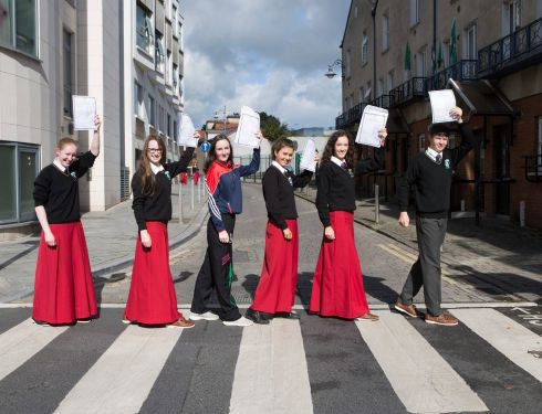 STRAIGHT A'S: Walking to success these six students from Gaelcholáiste Luimnigh celebrating their 61 As between them in the Junior Certificate. Photographed from left are Emily Calton O'Keeffe, Castletroy; Muireann Ní Shé, Ruan, Clare; Eva McMahon, Ardnacrusha; Seoda Chaoimh, Quin (who received 11 As); Íde Ní Ifearnáine, Annacotty; and Joe Tanner, Annacotty. Photograph: Liam Burke/Press 22