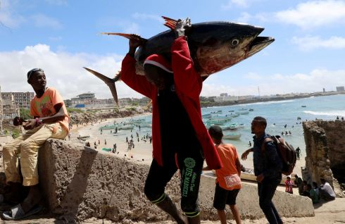 CATCH OF THE DAY: A fisherman carries his catch near a fishing port in Mogadishu, Somalia September 14th, 2018. Photograph: Feisal Omar/Reuters