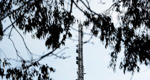 The transmission mast at RTÉ's Montrose campus in Dublin. Photograph: Cyril Byrne