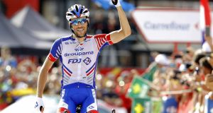 Thibaut Pinot (Groupama-FDJ) celebrates winning the 19th stage of La Vuelta   between Lleida and Andorra Naturlandia, in Lleida, northeastern Spain. Photograph: Manuel Bruque/EPA