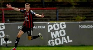 Bohemians' Daniel Kelly celebrates scoring his side's second goal during the SSE Airtricity League Premier Division game against Cork city at   Dalymount Park. Photograph: James Crombie/Inpho