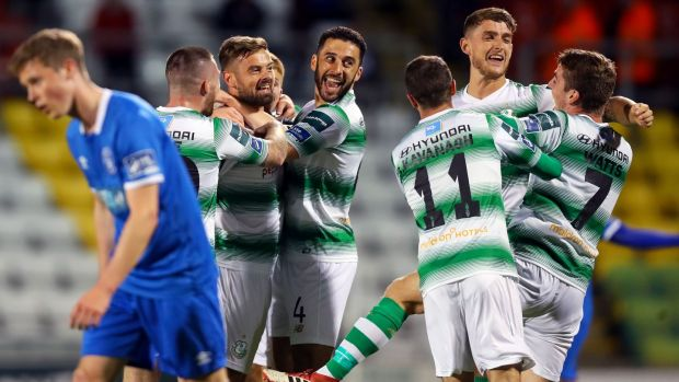 Greg Bolger of Shamrock Rovers celebrates scoring a goal with team-mates during the SSE Airtricity League Premier Division match against Limerick at Tallaght Stadium. Photograph: Tommy Dickson/Inpho