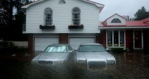Homes are flooded after a storm surge from Hurricane Florence flooded the Neuse River on Friday in North Carolina. Photograph: Chip Somodevilla/Getty Images