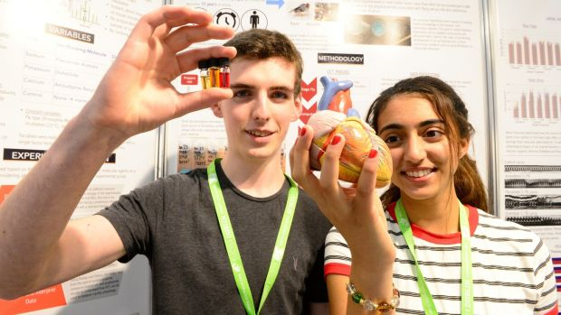 Simon Meehan left from Colaiste Cholm in Ballincollig, Co Cork with natural plant extracts with a potential new antibotic. Rhea Malhotra from USA holding a heart from her project of 3D imaging of cardiac physiology in fruit flies at the set up of the European Union Contest for Young Scientists at the RDS. Photograph: Cyril Byrne/The Irish Times.