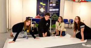 Slovakian scientists Maria Babincakova, Filip Kucerak, Anna Mojzisova and Janka Motesicka at the set up of the European Union Contest for Young Scientists at the RDS. Photograph: Cyril Byrne/The Irish Times.