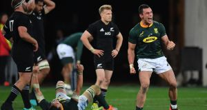 South Africa's Jesse Kriel celebrates his side's victory over the All Blacks. Photograph: Marty Melville/AFP/Getty