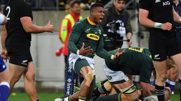 Aphiwe Dyantyi scored twice during South Africa's win over the All Blacks. Photograph: Marty Melville/AFP/Getty
