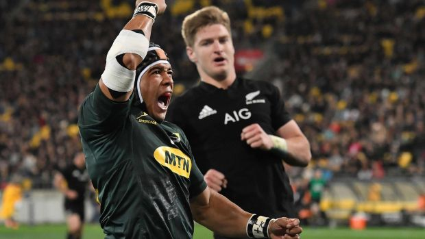 South Africa's Cheslin Kolbe celebrates his score in the Springboks' famous win over New Zealand. Photograph: Marty Melville/AFP/Getty