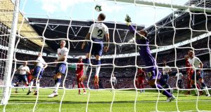 Michel Vorm fails to keep out Georginio Wijnaldum's opener at Wembley. Photograph:  Clive Rose/Getty