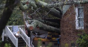 A tree that fell on a house, killing a mother and baby, amid Hurricane Florence in Wilmington, North Carolina. Photograph: Andrew Caballero-Reynolds/AFP/Getty Images