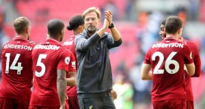 Liverpool manager Jürgen Klopp applauds the fans after the Premier League win over Tottenham  at Wembley Stadium. Photograph:  Adam Davy/PA Wire