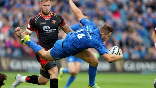 Leinster's Jordan Larmour in action during the Guinness Pro 14 game against the Dragons at the RDS. Photograph: Dan Sheridan/Inpho
