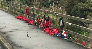 Desecrated wreaths at the memorial to the Narrow Water Massacre in which the IRA killed 18 soldiers  near Warrenpoint in Co Down. Photograph: Memorial to the Narrow Water Massacre/PA Wire.