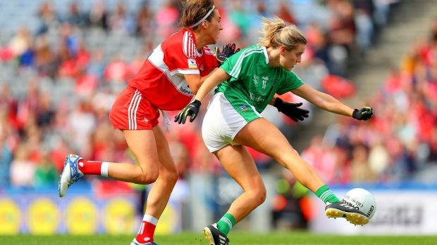 Limerick's Rebecca Delee scores one of her two goals against Louth. Photograph: Tommy Dickson/Inpho