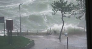 Waves crash beside Hung Hom Promenade and Hung Hom Ferry Pier amid Typhoon Mangkhut in Hong Kong. Photograph: Pcmarriotthk/Youtube/Reuters