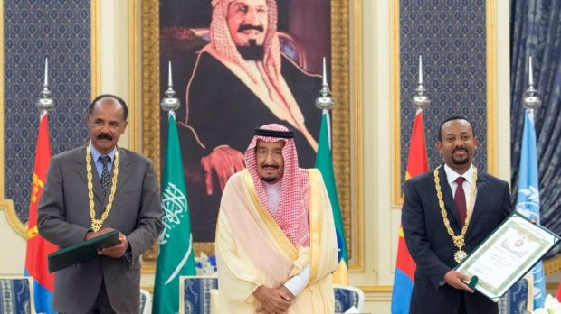 Saudi King Salman bin Abdulaziz Al Saud (centre) with Eritrean president Isaias Afwerki (left) and Ethiopian prime minister Abiy Ahmed in Jeddah, Saudi Arabia, on Sunday. The leaders of Ethiopia and Eritrea met in Jeddah to sign a peace deal between Ethiopia and Eritrea to end a 20-year conflict. Photograph: Saudi Press Agency/EPA