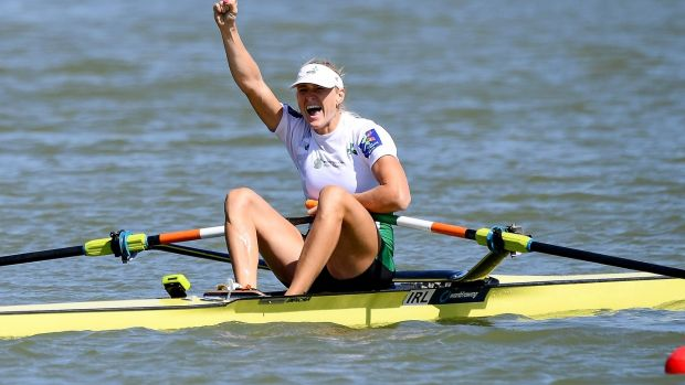 Ireland's Sanita Puspure celebrates winning the gold medal in the women's singles sculls final. Photograph: Detlev Seyb/Inpho