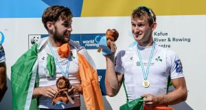 Paul and Gary O'Donovan celebrate winning gold in the men's lightweight doubles final at the World Rowing Championships in Bulgaria. Photograph: Detlev Seyb/Inpho