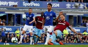 Marko Arnautovic rounds off the scoring for West Ham at Goodison Park. Photograph: Jason Cairnduff/Reuters