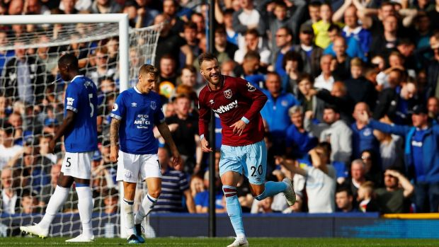 Andriy Yarmolenko celebrates his second in West ham's 3-1 win over Everton at Goodison Park. Photograph: Jason Cairnduff/Reuters